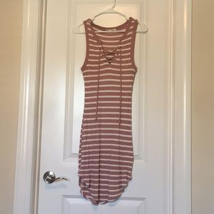 Stripped Lace Up Ribbed Dress